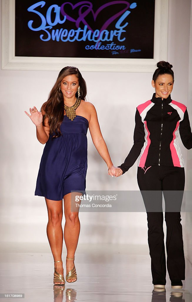 Designer Sammi Giancola left walks the runway at the Launch Of Sammi Sweetheart Collection presented by STYLE360 on September 10 2012 in New York City