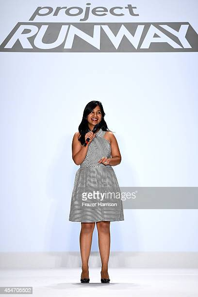 Designer Sandhya Garg walks the runway at the Project Runway fashion show during MercedesBenz Fashion Week Spring 2015 at The Theatre at Lincoln...