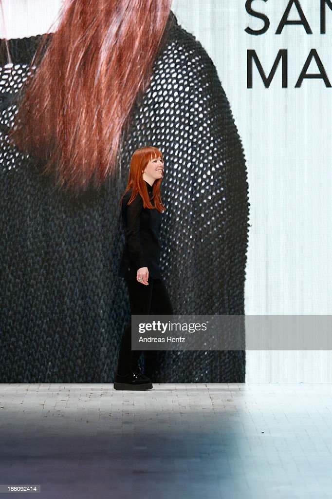 Designer Sandra Marti on the runway after the Seam show during Mercedes-Benz Fashion Days Zurich 2013 on November 14, 2013 in Zurich, Switzerland.