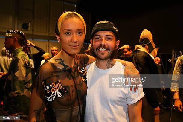 Designer Sasa Kovacevic and model Fa'Velapunk are seen backstage ahead of the Sadak show during the MercedesBenz Fashion Week Berlin Autumn/Winter...