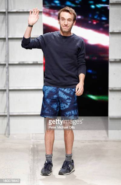 Designer Scott Sternberg walks the runway at the Band Of Outsiders Women's fashion show during MercedesBenz Fashion Week Spring 2014 on September 8...