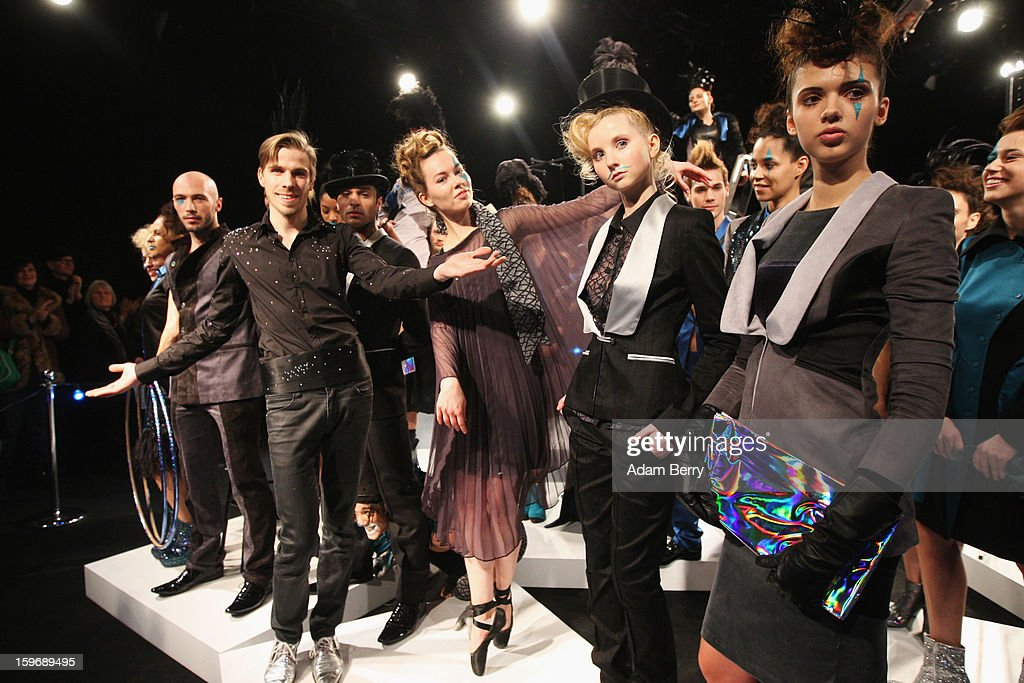 Designer Sebastian Ellrich and models pose at Sebastian Ellrich Autumn/Winter 2013/14 fashion show during Mercedes-Benz Fashion Week Berlin at Brandenburg Gate on January 18, 2013 in Berlin, Germany.
