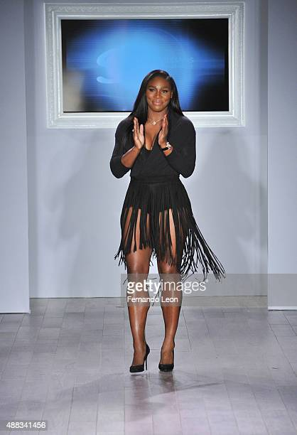 Designer Serena Williams takes a bow following the Serena Williams Signature Statement by HSN fashion show during the Spring 2016 Style 360 on...