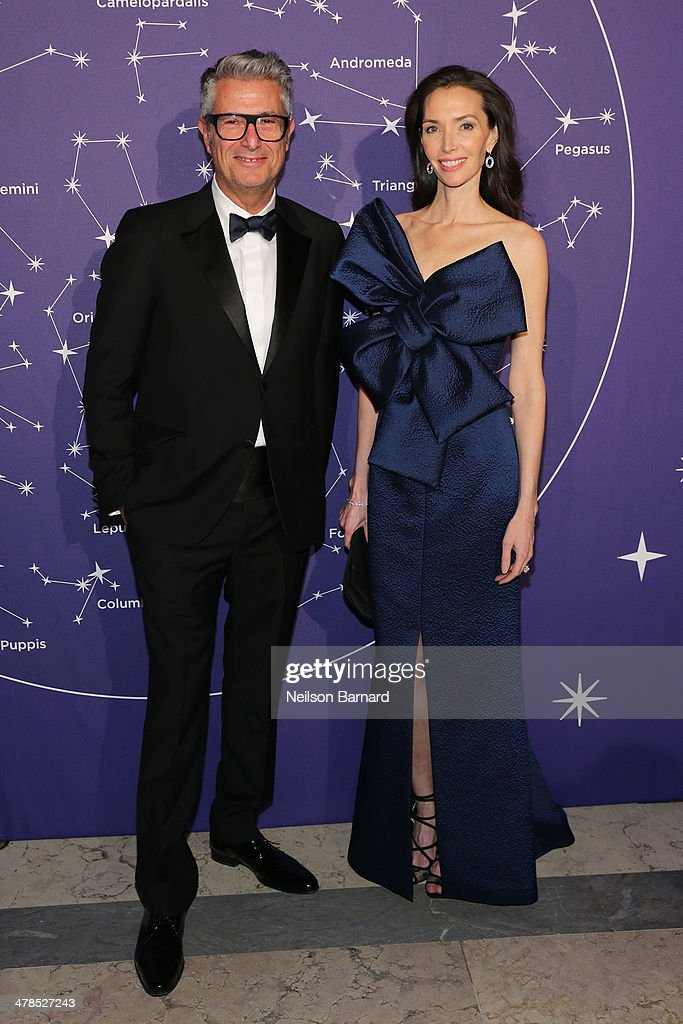 Designer Serge Cajfinger and Olivia Chantecaille attend the Young Fellows Celestial Ball presented by PAULE KA at The Frick Collection on March 13, 2014 in New York City.