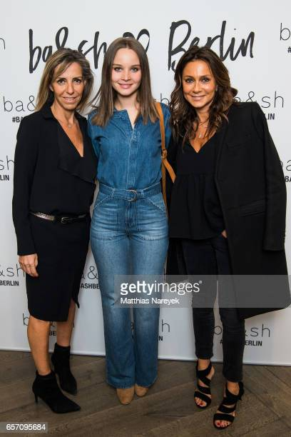 Designer Sharon Krief actress Sonja Gerhardt and designer Barbara Boccara attend the BaSh store opening on March 23 2017 in Berlin Germany