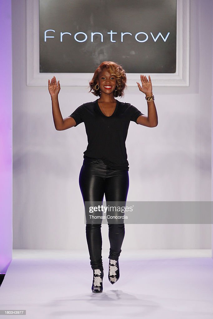 Designer Shateria Moragne-El is seen on the runway during her show FrontRow at the STYLE360 Fashion Pavilion in Chelsea on September 11, 2013 in New York City.