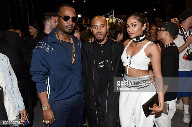 Designer Shayne Oliver wtih Juicy J and Regina Perera at the Hood By Air fashion show during New York Fashion Week The Shows at The Arc Skylight at...
