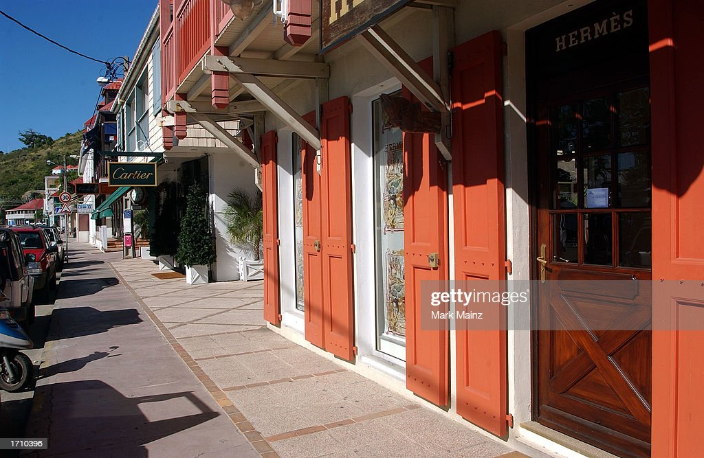 Designer shops line the main street in Gustavia December 27 2002 in St Barthelemy French West Indies