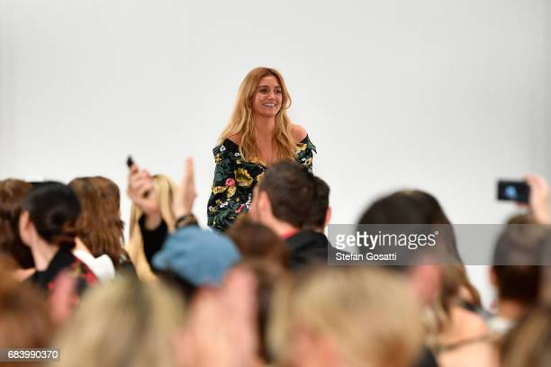 Designer Siham Elmawey thanks the audience following the C/meo Collective show at MercedesBenz Fashion Week Resort 18 Collections at Carriageworks on...