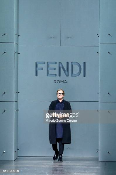 Designer Silvia Venturini Fendi acknowledges the applause of the public after the Fendi show as part of Milan Fashion Week Menswear Spring/Summer...