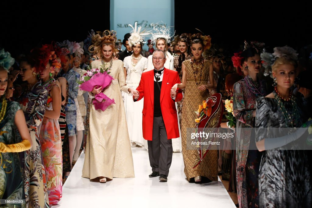 Designer Slava Zaitsev on the runway at the SLAVA ZAITSEV Haute Couture show during Mercedes-Benz Fashion Week Russia S/S 2014 on October 31, 2013 in Moscow, Russia.