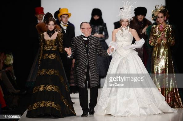 Designer Slava Zaitsev on the runway at the Slava Zaitsev show during MercedesBenz Fashion Week Russia Fall/Winter 2013/2014 at Manege on March 29...