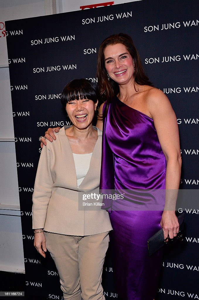 Designer Son Jung Wan and actress Brooke Shields attend Son Jung Wan during Fall 2013 Mercedes-Benz Fashion Week at The Studio at Lincoln Center on February 9, 2013 in New York City.
