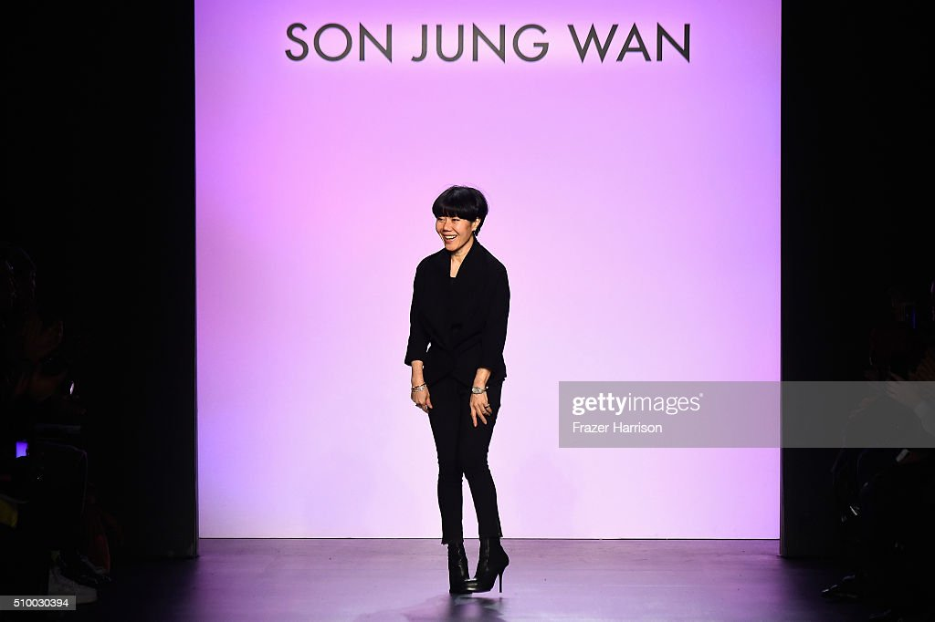 Designer Son Jung Wan poses on the runway wearing Son Jung Wan Fall 2016 during New York Fashion Week: The Shows at The Dock, Skylight at Moynihan Station on February 13, 2016 in New York City.