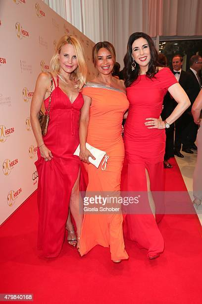 Designer Sonja Kiefer Gitta Saxx Judith Williams during the 20 year anniversary event of the home shopping channel HSE24 at Ziegelei on July 7 2015...