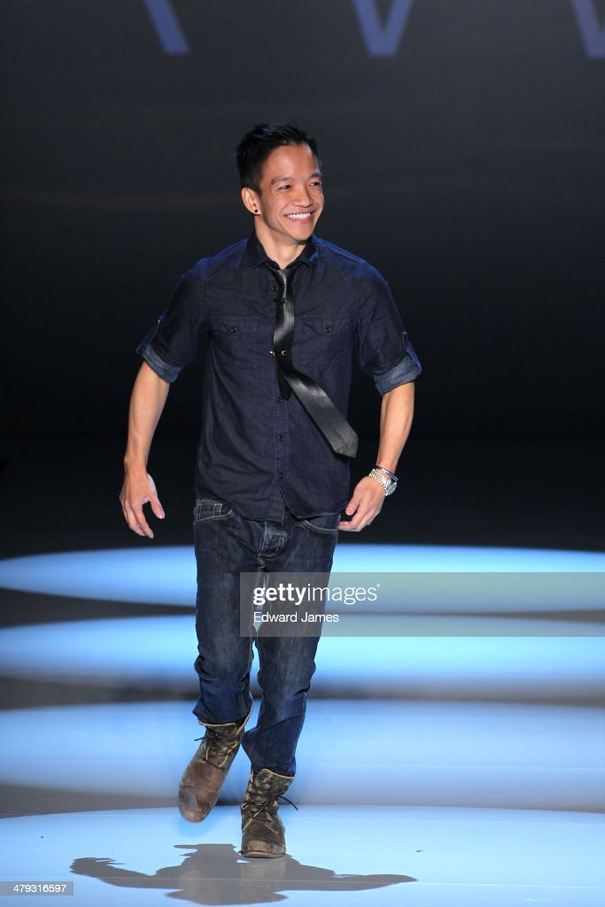 Designer Sonny Fong walks the runway during the Vawk fashion show during World Mastercard fashion week on March 17, 2014 in Toronto, Canada.
