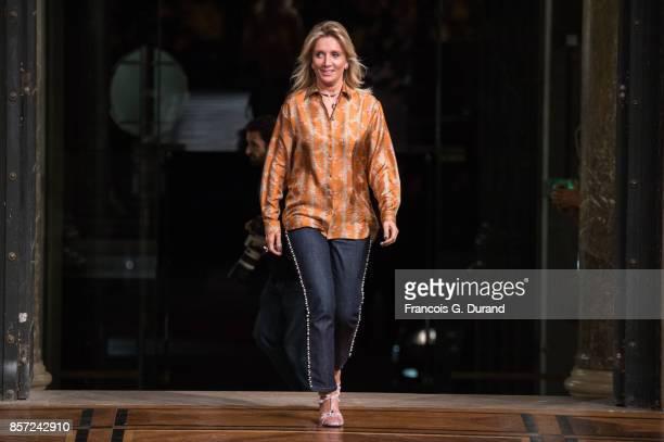 Designer Sophie Albou walks the runway during the Paul Joe Paris show as part of the Paris Fashion Week Womenswear Spring/Summer 2018 on October 3...