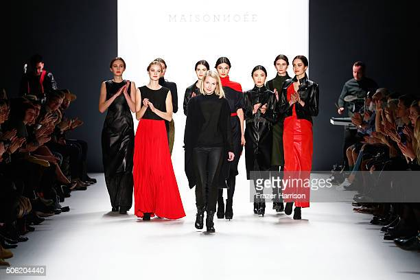 Designer Sophie Boehmert and models walk the runway at the Maisonnoee show during the MercedesBenz Fashion Week Berlin Autumn/Winter 2016 at...