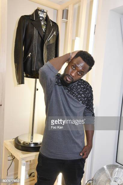 Designer Steeven Kodjia poses during the French Deal Cocktail as part of Paris Fashion Week on June 25 2017 in Paris France