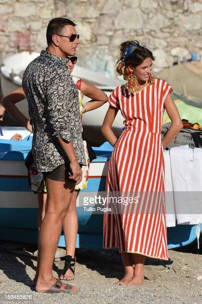 Designer Stefano Gabbana and model Bianca Balti are seen on the set of Dolce Gabbana new photography campaign on October 4 2012 in Taormina Italy