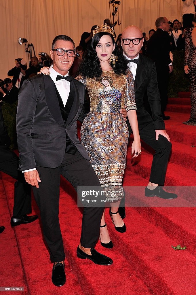 Designer Stefano Gabbana, Katy Perry, and designer Domenico Dolce attend the Costume Institute Gala for the 'PUNK: Chaos to Couture' exhibition at the Metropolitan Museum of Art on May 6, 2013 in New York City.