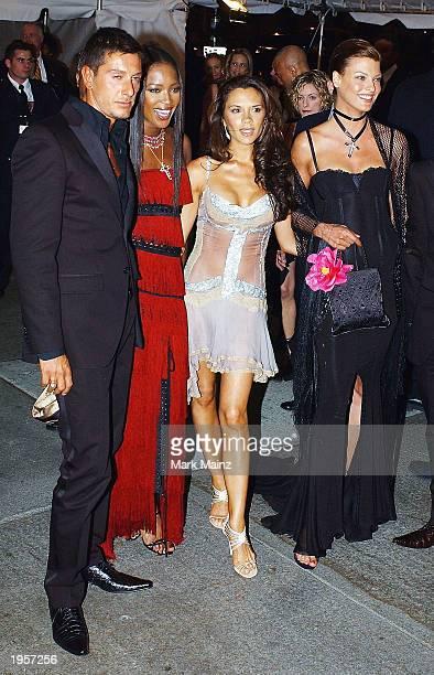 Designer Stefano Gabbana model Naomi Campbell former Spice Girl Victoria Beckham and model Linda Evangelista arrive for 'Goddess Costume Institute...