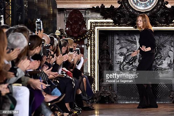 Designer Stella McCartney appears on the runway after the Stella McCartney show as part of the Paris Fashion Week Womenswear Spring/Summer 2016 on...