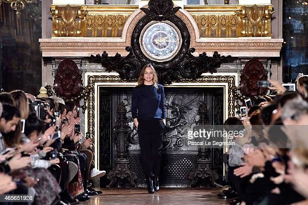Designer Stella McCartney appears on the runway during the Stella McCartneyshow as part of the Paris Fashion Week Womenswear Fall/Winter 2015/2016 on...