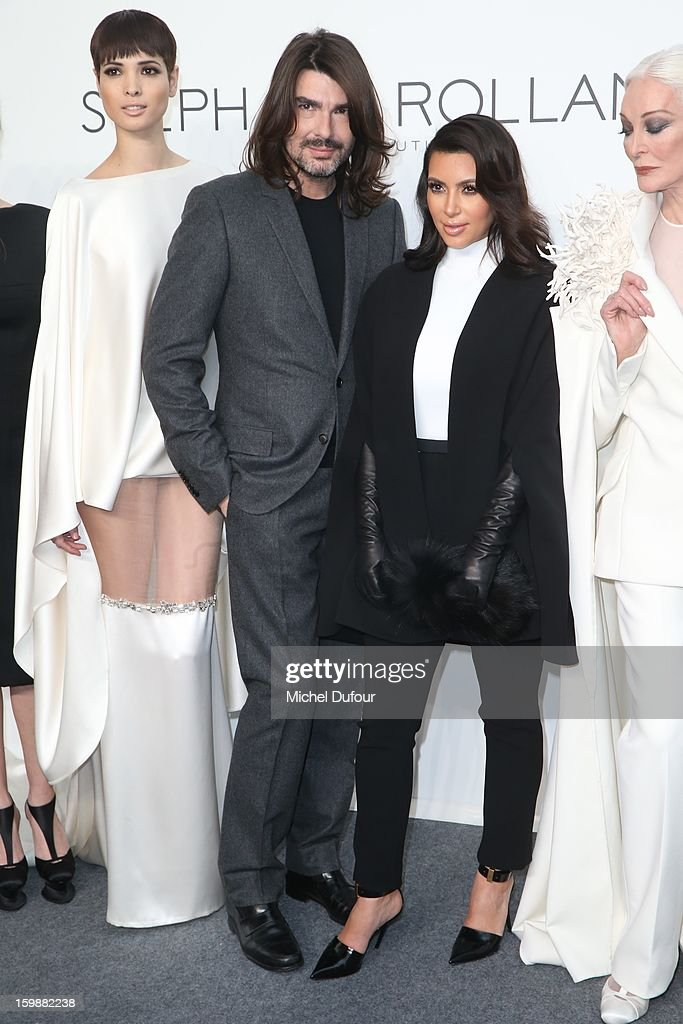 Designer Stephane Rolland and Kim Kardashian attend the Stephane Rolland Spring/Summer 2013 Haute-Couture show as part of Paris Fashion Week at Palais De Tokyo on January 22, 2013 in Paris, France.