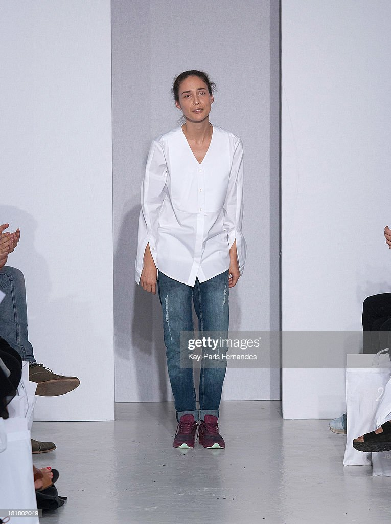Designer Stephanie Hahn walks the runway during 22/4 Hommes Femmes show as part of the Paris Fashion Week Womenswear Spring/Summer 2014 on September 25, 2013 in Paris, France.