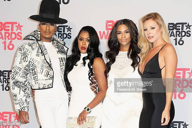 Designer Stephon Mendoza TV personalities Eny Oh Kamie Crawford and Savannah Lynx pose in the press room during the 2016 BET Awards at the Microsoft...