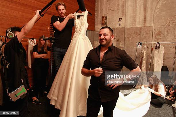 Designer Steven Khalil is interviewed backstage ahead of the Steven Khalil show at MercedesBenz Fashion Week Australia 2015 at Carriageworks on April...