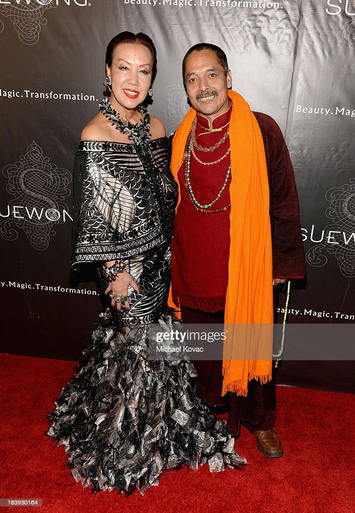 Designer Sue Wong (L) and Master Romio attend Sue Wong 'Jazz Babies' Spring 2014 Runway Show on October 9, 2013 in Los Angeles, California.
