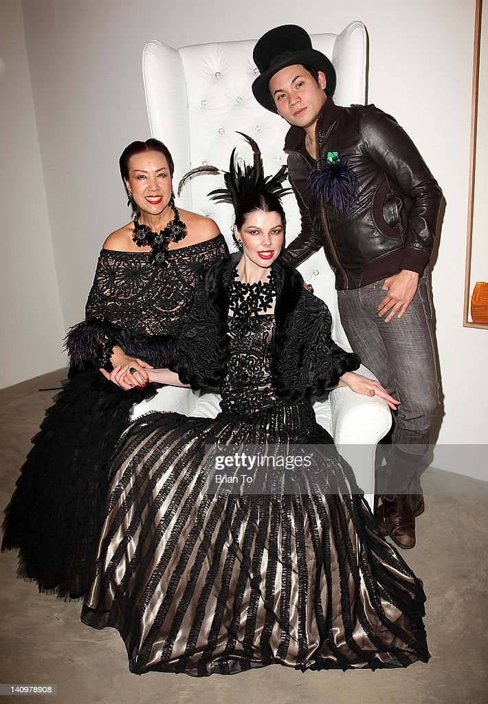 Designer Sue Wong (L), Linda Taylor, and Joe Vilainan attend Fashion Group International's Meet the Designer & the Muse at Ace Gallery on March 8, 2012 in Los Angeles, California.