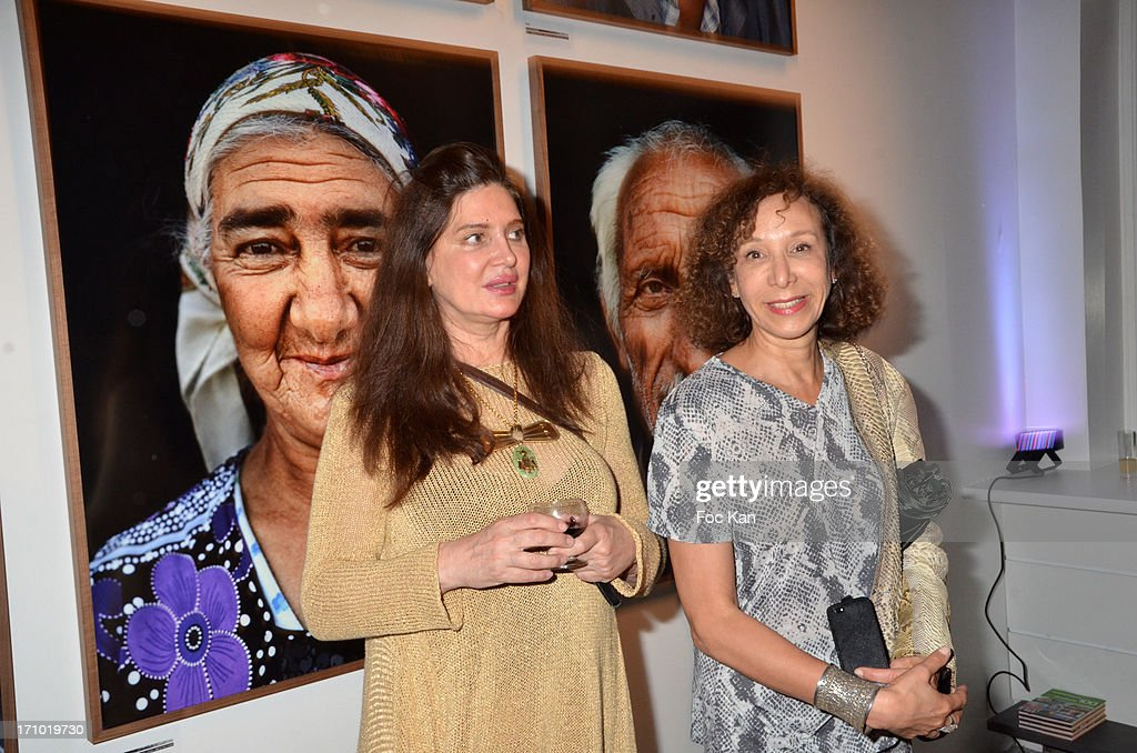 Designer Suna Ahmed and Journalist Olivia Portaud attend the 'Five Roads Back Home' Philipp Rathmer Photo Exhibition Preview at Galerie Joseph on June 20, 2013 in Paris, France.