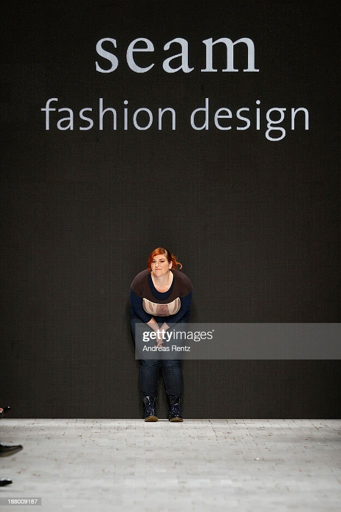Designer Sybille Kuhn on the runway after the Seam show during Mercedes-Benz Fashion Days Zurich 2013 on November 14, 2013 in Zurich, Switzerland.