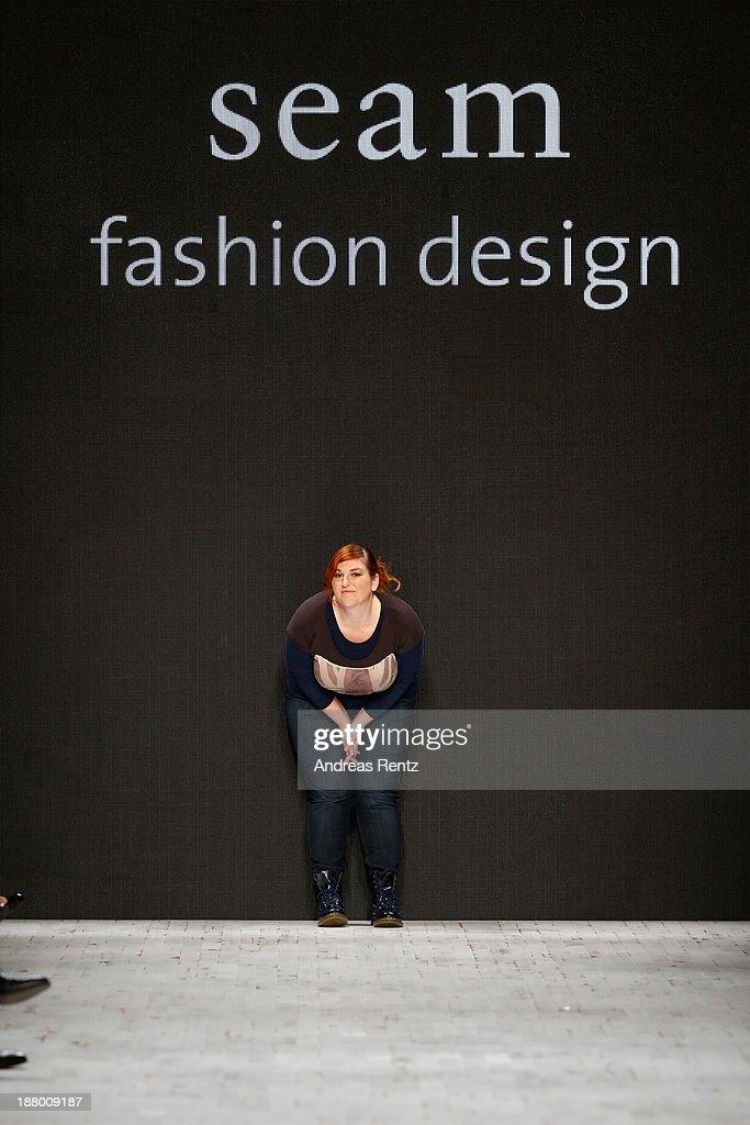 Designer Sybille Kuhn on the runway after the Seam show during Mercedes-Benz Fashion Days Zurich 2013 on November 14, 2013 in Zurich, Switzerland.