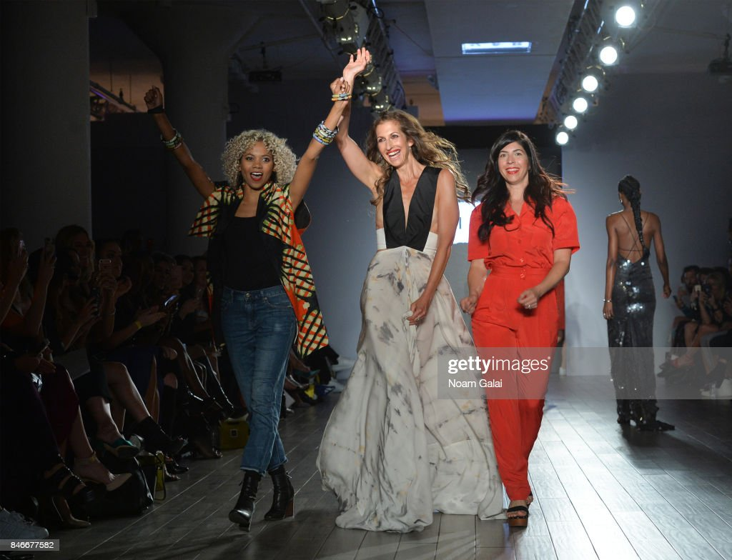 Designer Tabitha St. Bernard-Jacobs, actress Alysia Reiner and designer Claudine De Sola walk the runway at the Livari By Alysia Reiner, Claudine De Sola & Tabitha St. Bernard-Jacobs fashion show during New York Fashion Week: Style360 at Metropolitan Pavilion on September 13, 2017 in New York City.