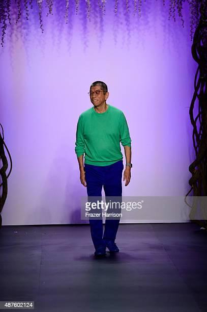 Designer Tadashi Shoj walks the runway at Tadashi Shoji fashion show during Spring 2016 New York Fashion Week The Shows at The Dock Skylight at...
