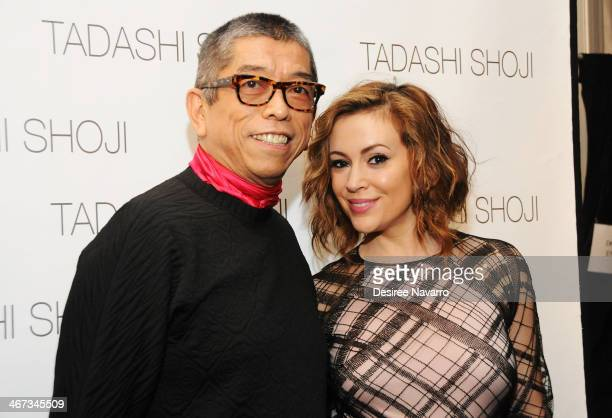 Designer Tadashi Shoji and actress Alyssa Milano pose backstage at the Tadashi Shoji show during MercedesBenz Fashion Week Fall 2014 at The Salon at...