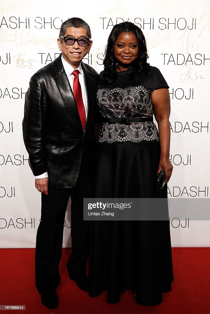 Designer Tadashi Shoji (L) and Actress <a gi-track='captionPersonalityLinkClicked' href=/galleries/search?phrase=Octavia+Spencer&family=editorial&specificpeople=2538115 ng-click='$event.stopPropagation()'>Octavia Spencer</a> attends the Tadashi Shoji Beijing Store Grand Opening at Beijing Parkview Green on April 26, 2013 in Beijing, China.