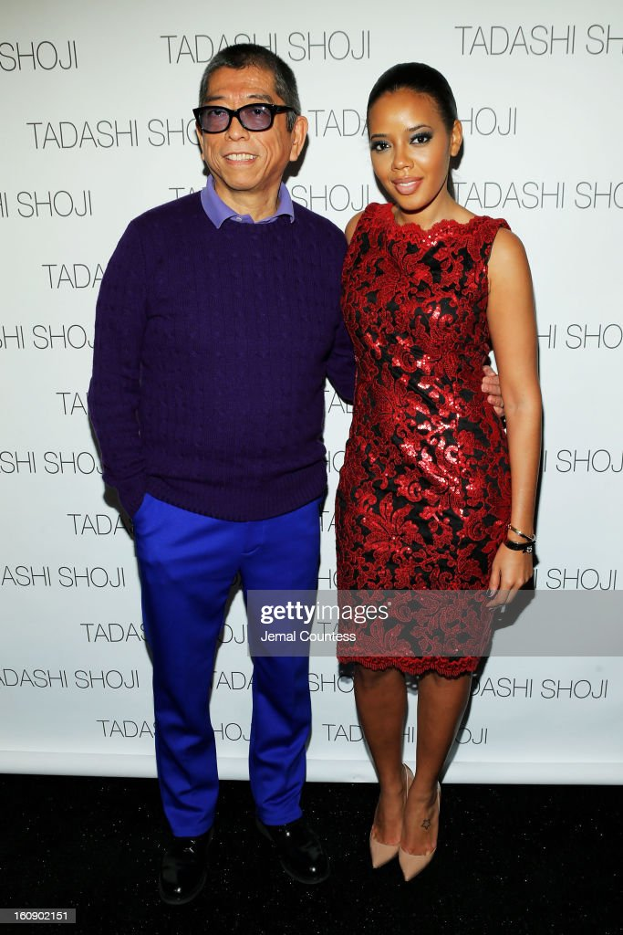 Designer Tadashi Shoji and Angela Simmons pose backstage at the Tadashi Shoji Fall 2013 fashion show during Mercedes-Benz Fashion Week at The Stage at Lincoln Center on February 7, 2013 in New York City.