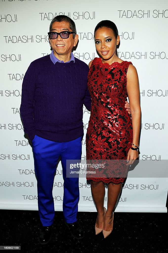 Designer Tadashi Shoji and <a gi-track='captionPersonalityLinkClicked' href=/galleries/search?phrase=Angela+Simmons&family=editorial&specificpeople=653461 ng-click='$event.stopPropagation()'>Angela Simmons</a> pose backstage at the Tadashi Shoji Fall 2013 fashion show during Mercedes-Benz Fashion Week at The Stage at Lincoln Center on February 7, 2013 in New York City.