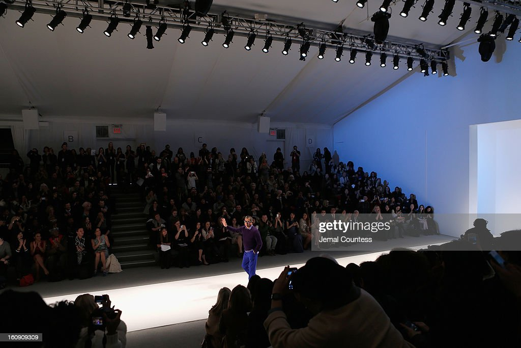Designer Tadashi Shoji at his Fall 2013 fashion show during Mercedes-Benz Fashion Week at The Stage at Lincoln Center on February 7, 2013 in New York City.