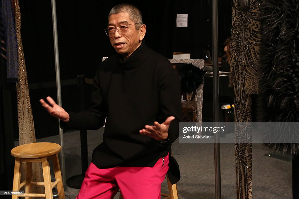 Designer Tadashi Shoji interviews backstage at the Tadashi Shoji Fall 2016 fashion show during New York Fashion Week: The Shows at The Arc, Skylight at Moynihan Station on February 12, 2016 in New York City.