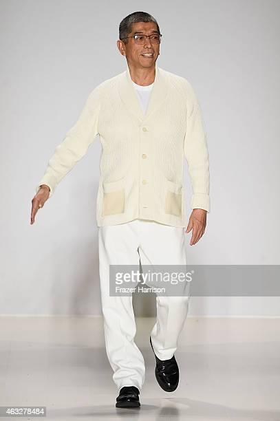 Designer Tadashi Shoji walks the runway at the Tadashi Shoji fashion show during MercedesBenz Fashion Week Fall 2015 at The Salon at Lincoln Center...