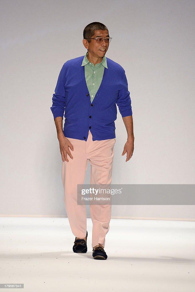 Designer Tadashi Shoji walks the runway at the Tadashi Shoji Spring 2014 fashion show during Mercedes-Benz Fashion Week at The Stage at Lincoln Center on September 5, 2013 in New York City.