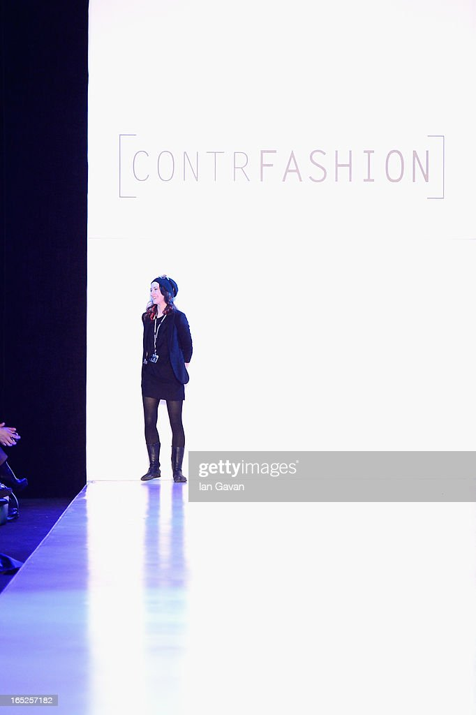Designer Taisa Dodin walks the runway at the TaiDo show for Contrfashion during Mercedes-Benz Fashion Week Russia Fall/Winter 2013/2014 at Manege on April 2, 2013 in Moscow, Russia.