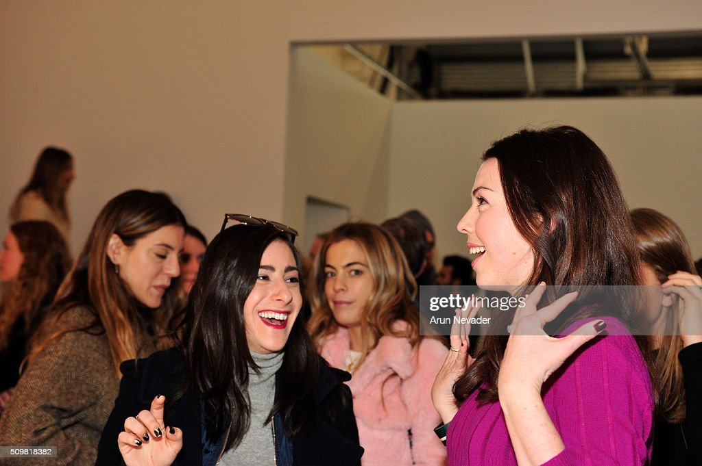 Designer Tanya Taylor meets with guests at the Tanya Taylor Presentation at Swiss Institute on February 12, 2016 in New York City.