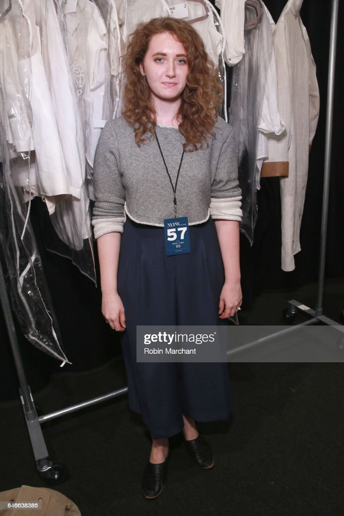 Designer Teagan Lindsay poses backstage for the RISD fashion show during New York Fashion Week: The Shows at Gallery 1, Skylight Clarkson Sq on September 13, 2017 in New York City.